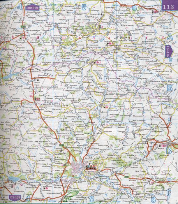 Карта Курской области масштаба