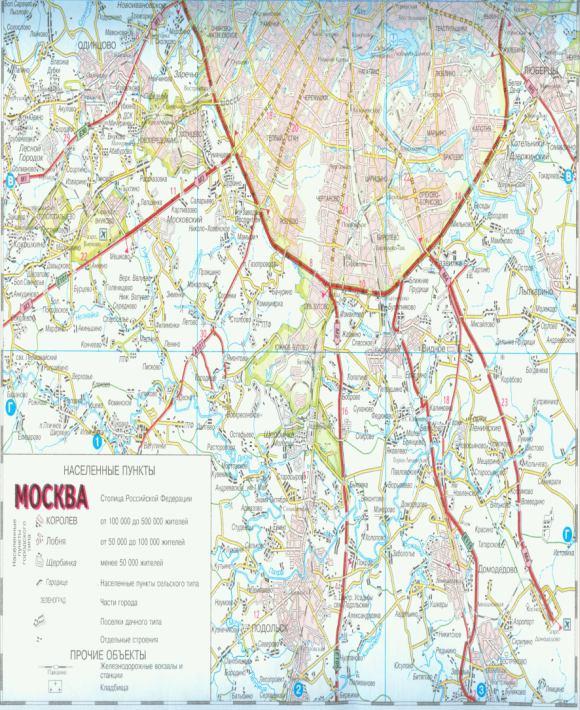 Карта ближнего Подмосковья.