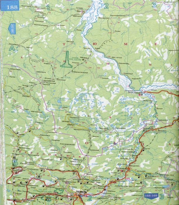 Карта авто дорог Тюменской