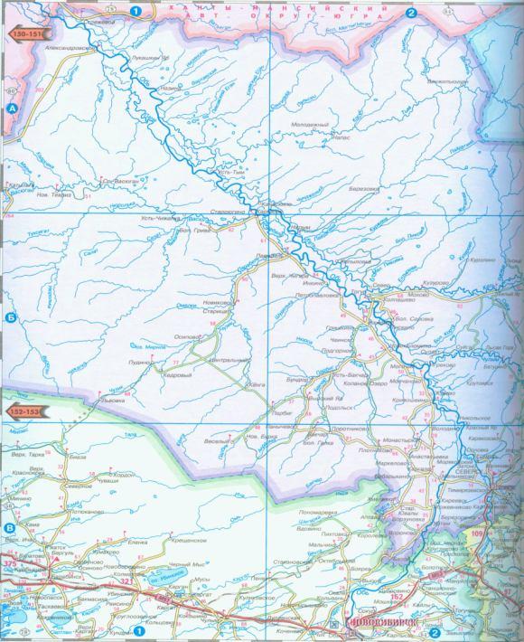 Карта Томской области.