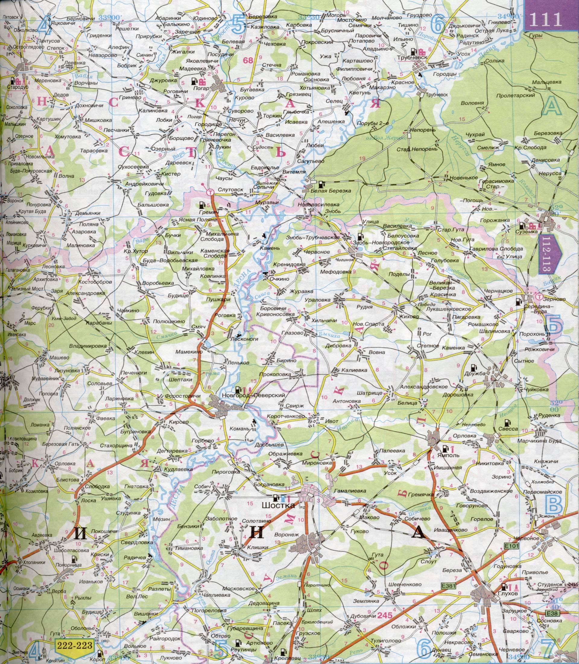 Очень подробная карта авто дорог масштаба 1см:5км.  Показаны пограничные районы Белоруссии и Украины.