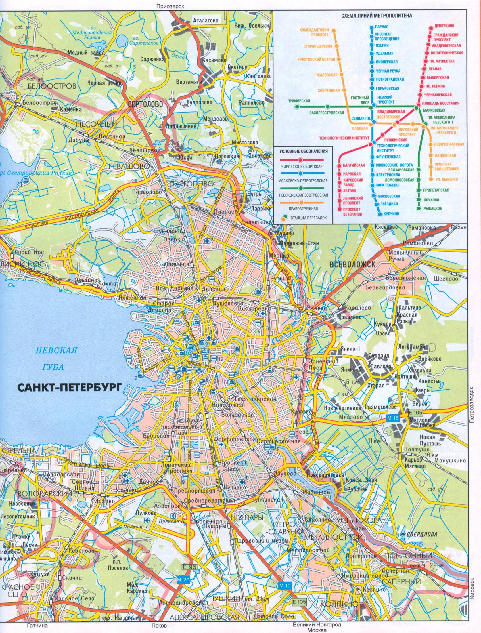 Карта санкт петербурга карта схема