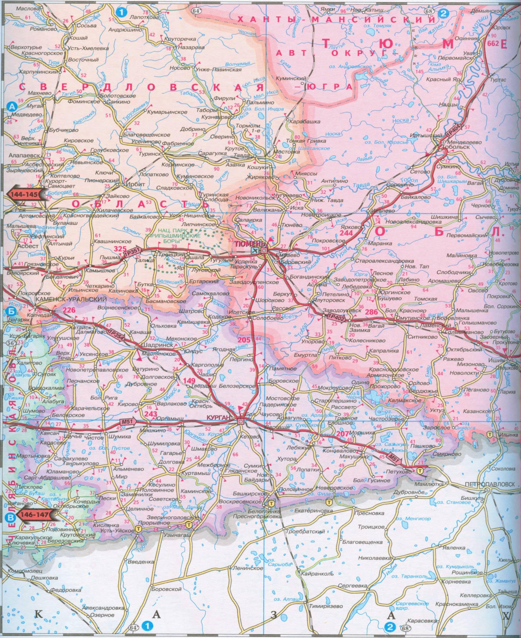 Карта автомобильных дорог тюменской, курганской, омской обла.