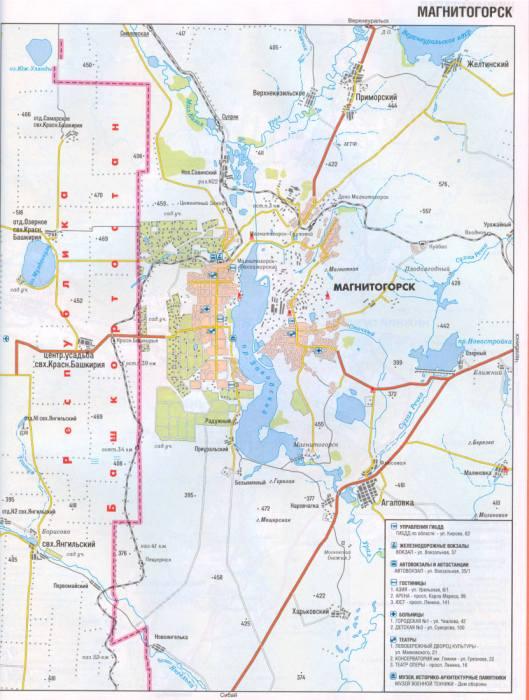Карта автомобильная города Магнитогорска, схема проезда авто транспорта.