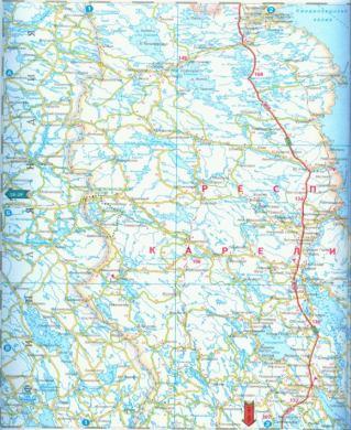Карта автодорог Карелии