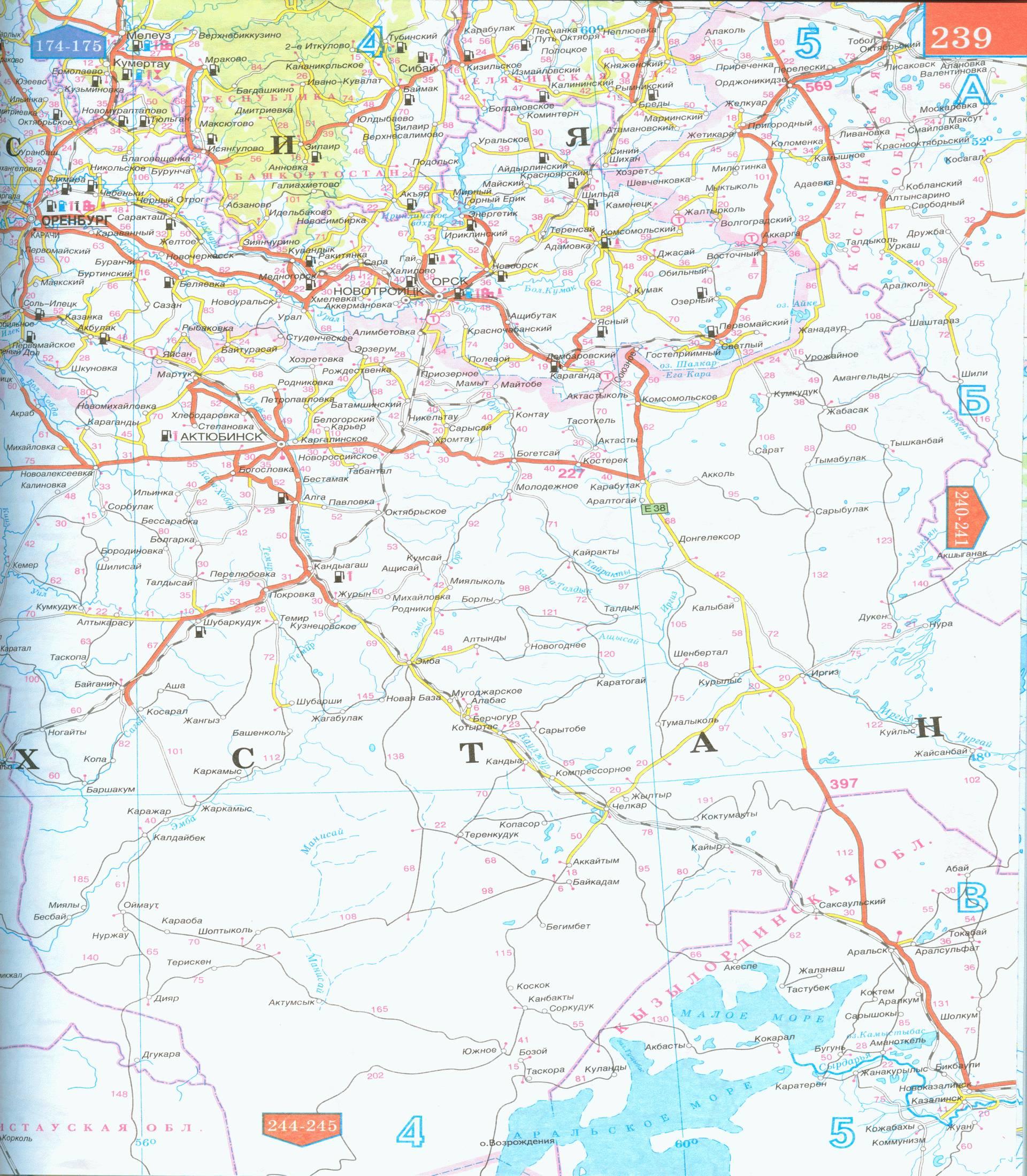 Карта схема автомобильных дорог Западного Казахстана.