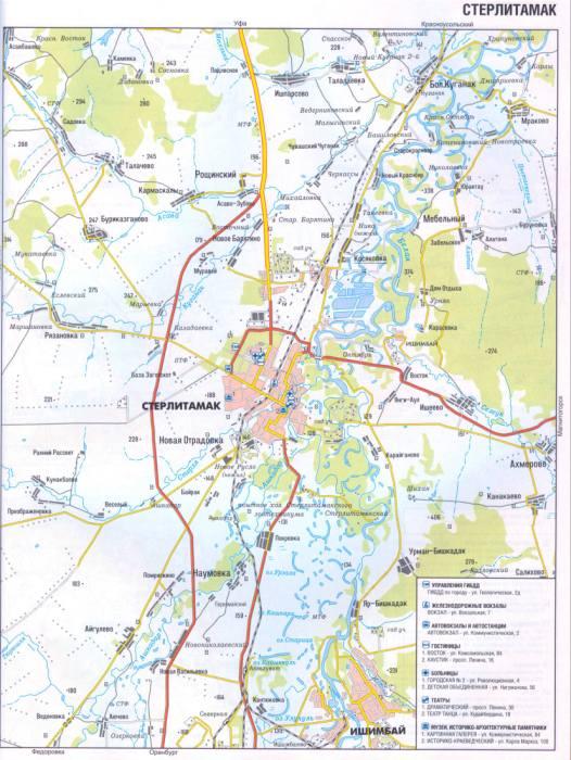 План карта города Стерлитамак, схема проезда.  Автомобильный атлас России и СНГ.  Подробные карты дорог России.