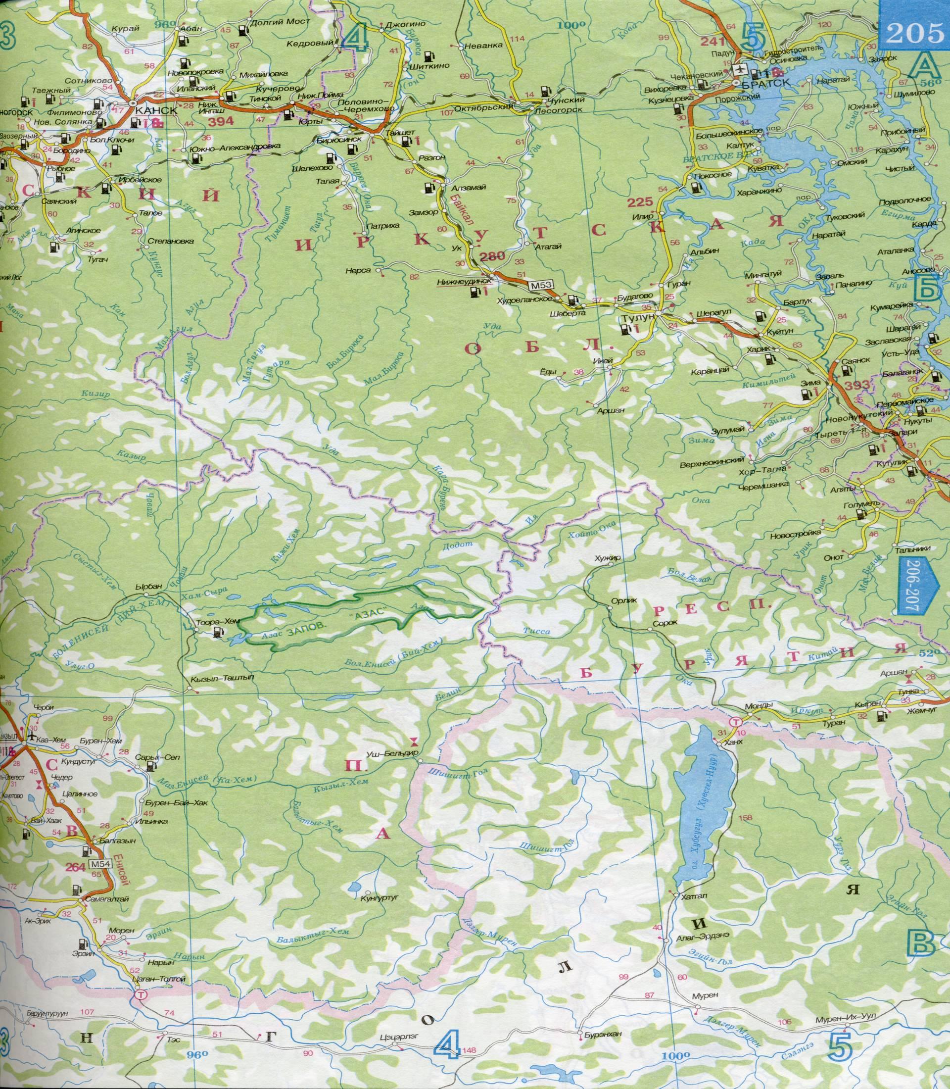 Карта Красноярского края масштаба 1см:30км.  Подробная карта - Красноярский край.