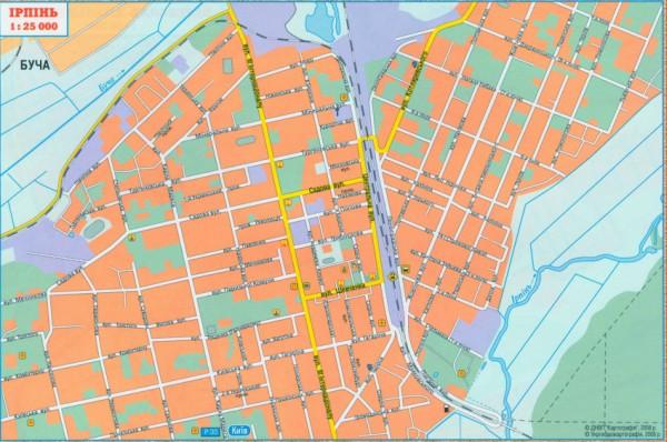 Карта города Ирпень. Подробная
