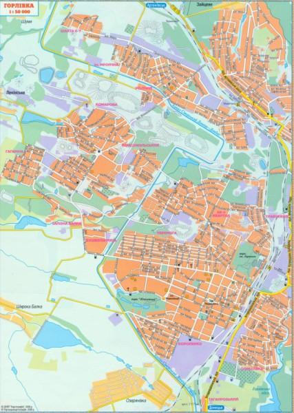 Карта Горловки. Подробная