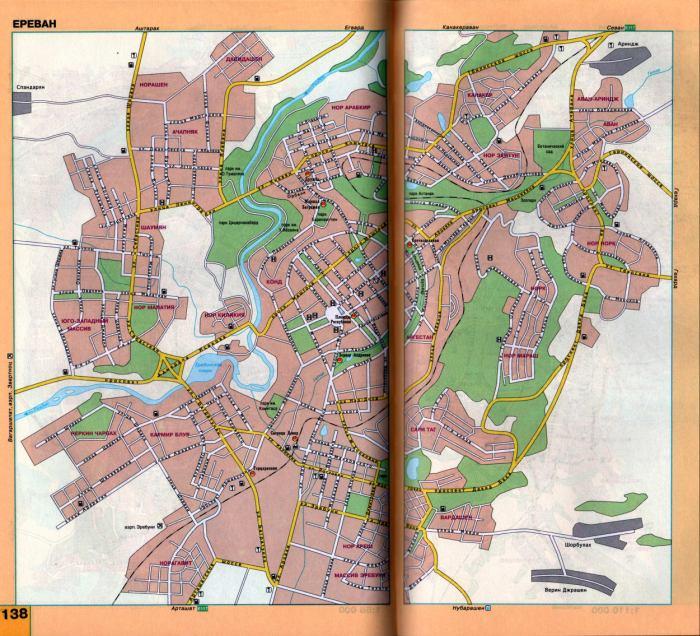 Еревана с названиями улиц.