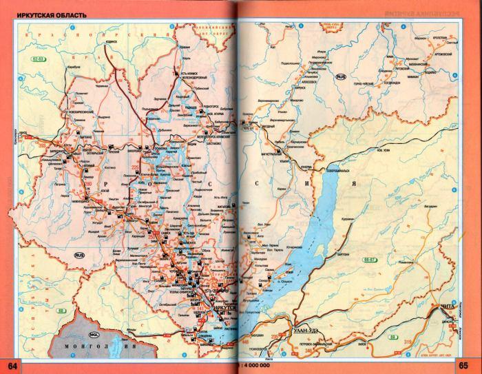 Карта схема автодорог Иркутской области.  Регион на одной карте - Иркутская область.