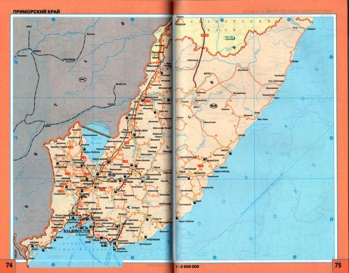Карта - схема автомобильных дорог Приморского края.