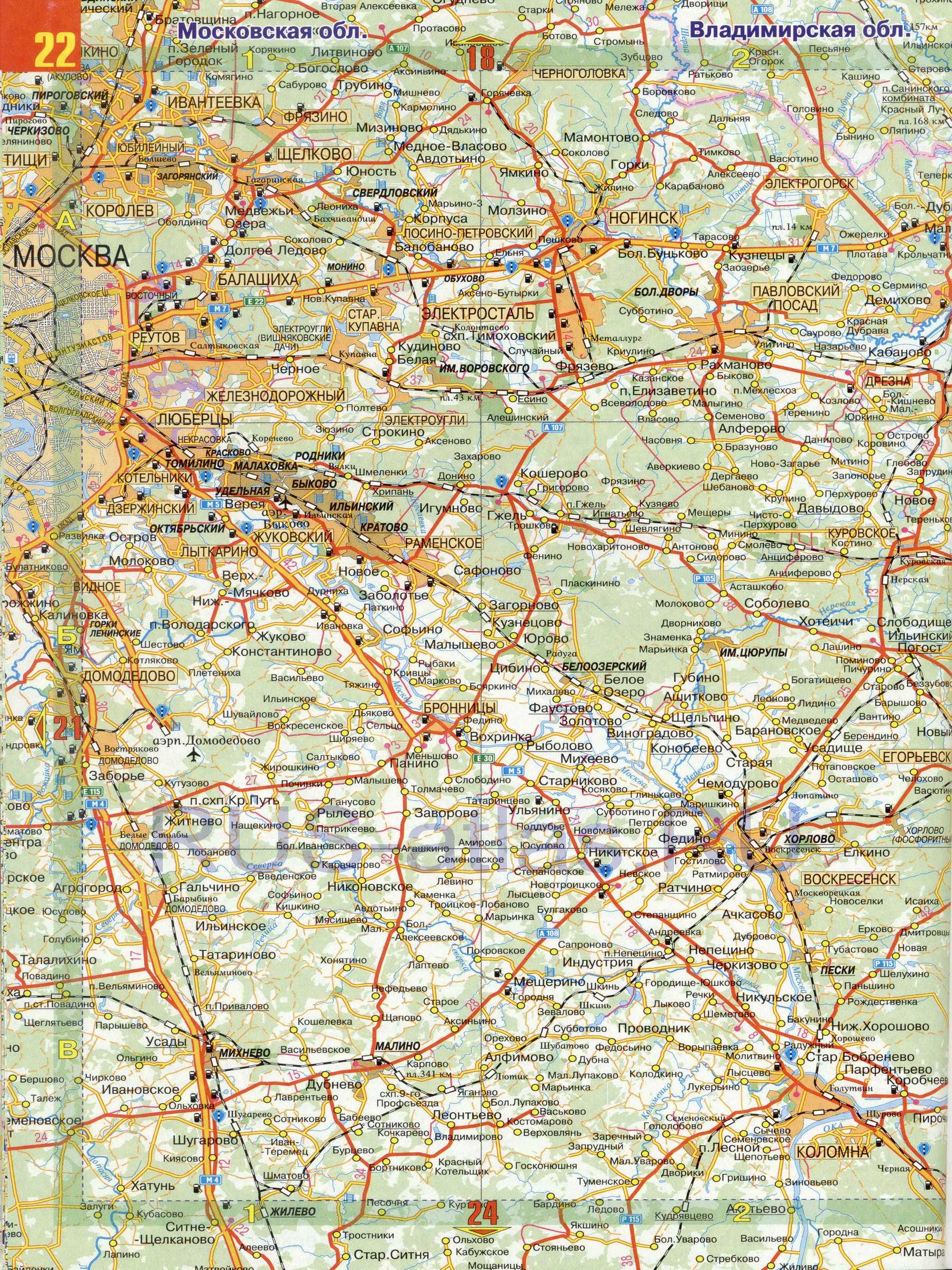 Карта московской обл очень подробная