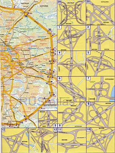 Карта МКАД с развязками.