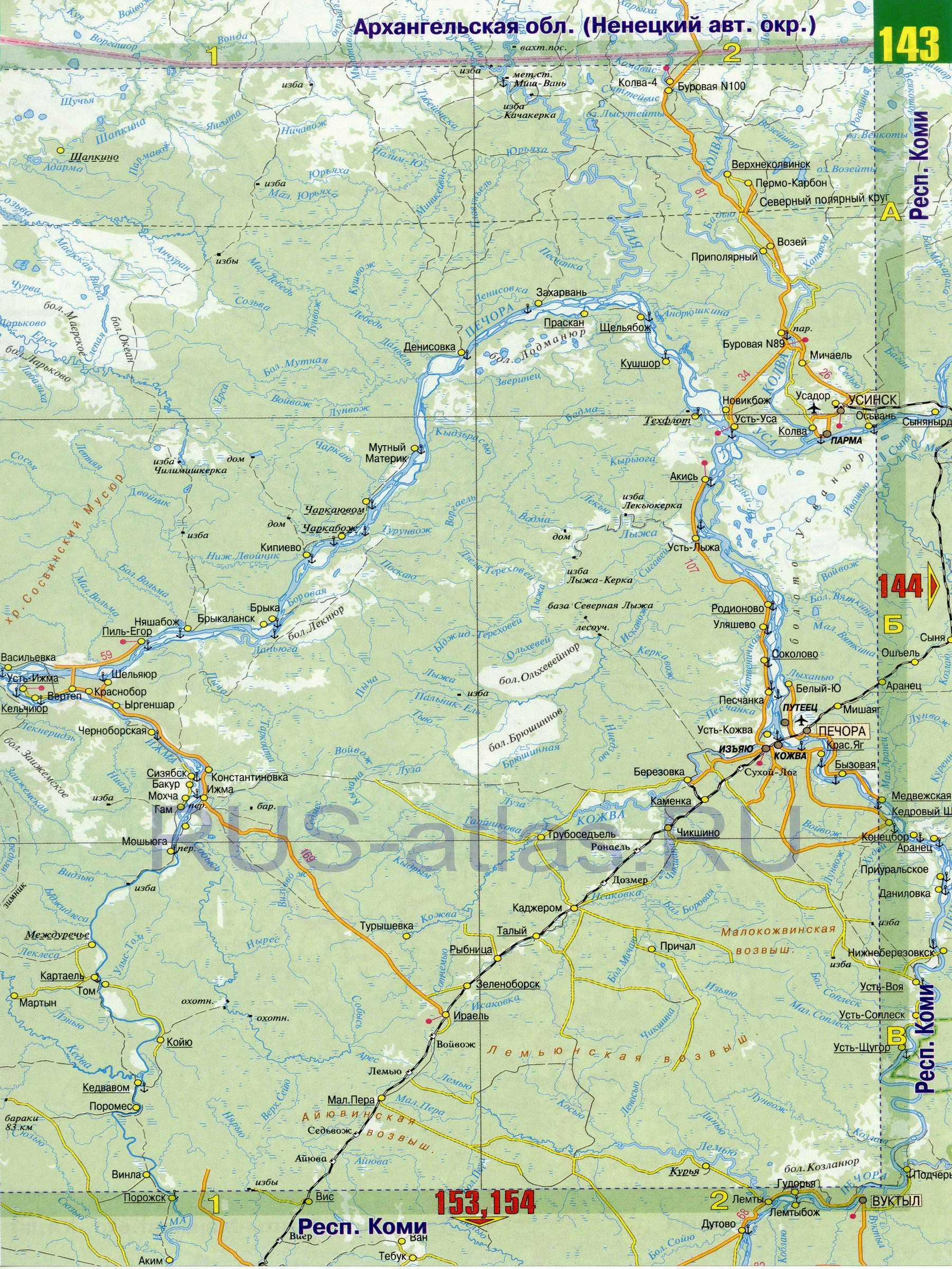 Карта Коми. Карта дорог республики Коми, B0: http://rus-atlas.ru/map442909_0_1.htm