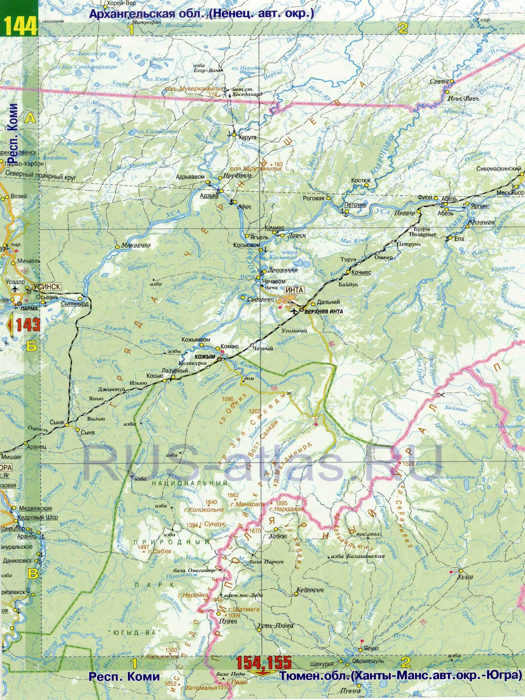 Карта Коми. Карта дорог республики Коми, C0: http://rus-atlas.ru/map442909_0_2.htm