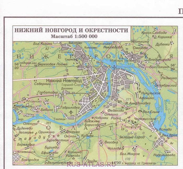 Карта нижнего новгорода и