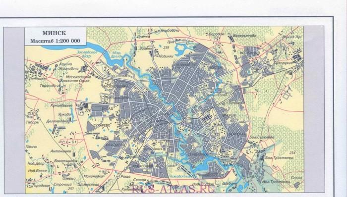 Карта схема столицы Белоруссии города Минск.