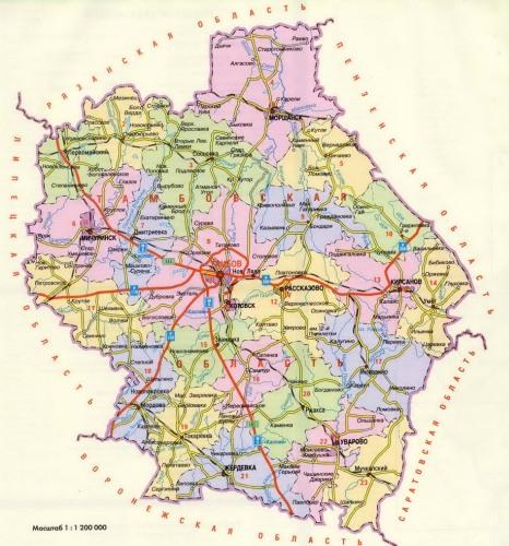 Карта Тамбовской области с
